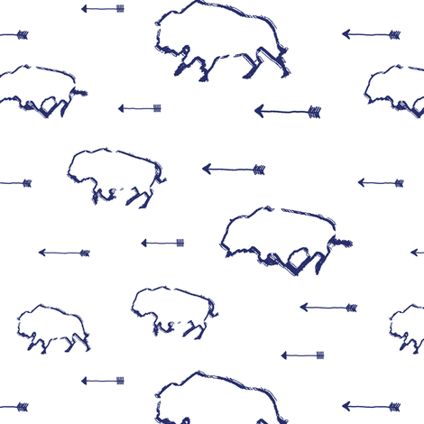 Buffalo Hunt // Blue // Small fabric by thinlinetextiles on Spoonflower - custom fabric
