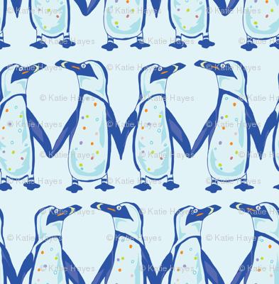 Penguin Colony,- Midsized in Blue