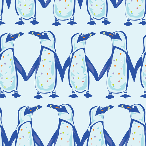Penguin Colony,- Midsized in Blue  fabric by katie_hayes on Spoonflower - custom fabric