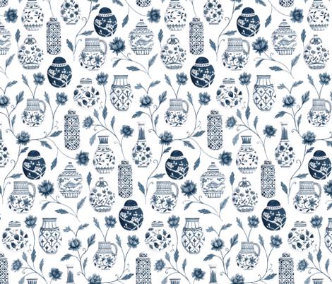 Vintage vases in blue fabric by daniellagermain on Spoonflower - custom fabric
