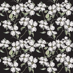 Dogwood floral in Black-Mini