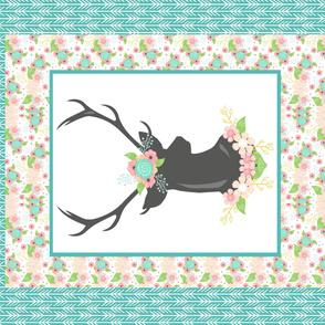 Bordered Floral Stag Blanket