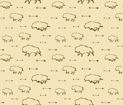 Buffalo Hunt // Tan // Large fabric by thinlinetextiles on Spoonflower - custom fabric