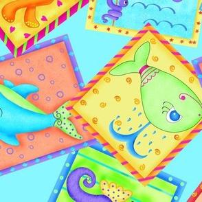 Kids Sea Animal Blocks Turquoise Large