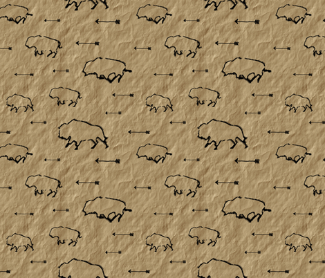 Buffalo Hunt // Parchment // Large fabric by thinlinetextiles on Spoonflower - custom fabric