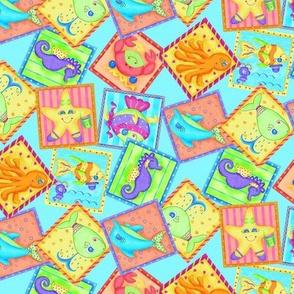 Sea Animal Blocks Turquoise Small