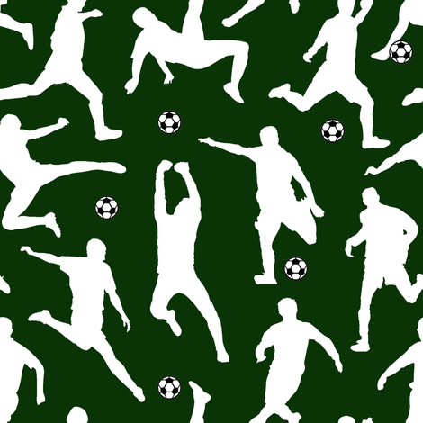 Soccer Players // Dark Green // Large fabric by thinlinetextiles on Spoonflower - custom fabric