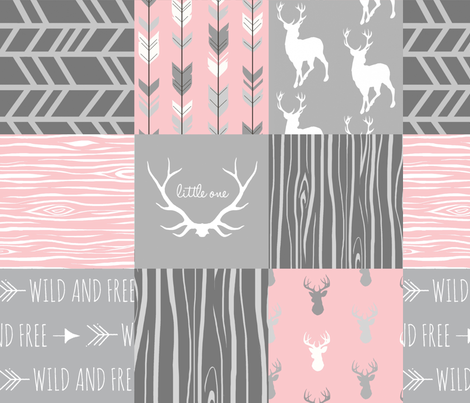 Custom Deer Patchwork - pink and light grey fabric by sugarpinedesign on Spoonflower - custom fabric