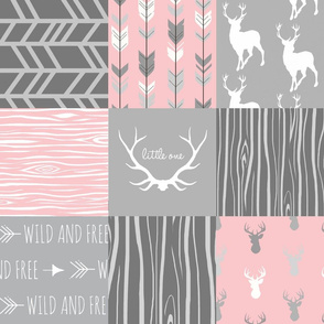 Custom Deer Patchwork - pink and light grey