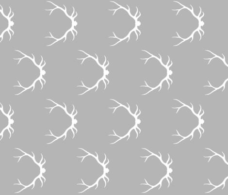 Antlers - white on grey ROTATED fabric by sugarpinedesign on Spoonflower - custom fabric