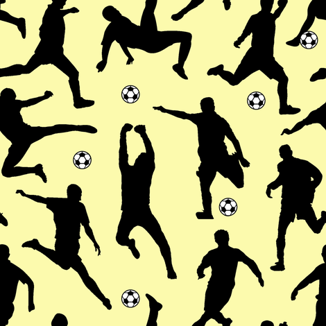 Soccer Players // Yellow // Large fabric by thinlinetextiles on Spoonflower - custom fabric