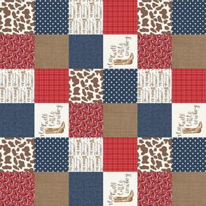 3 inch Sleep Well little cowboy - wholecloth cheater quilt - rotated