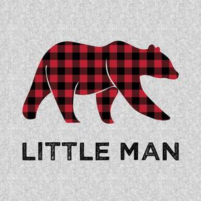 "27"" Minky Layout - Little Man - buffalo plaid bear"
