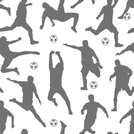Grey Soccer Players // Large fabric by thinlinetextiles on Spoonflower - custom fabric