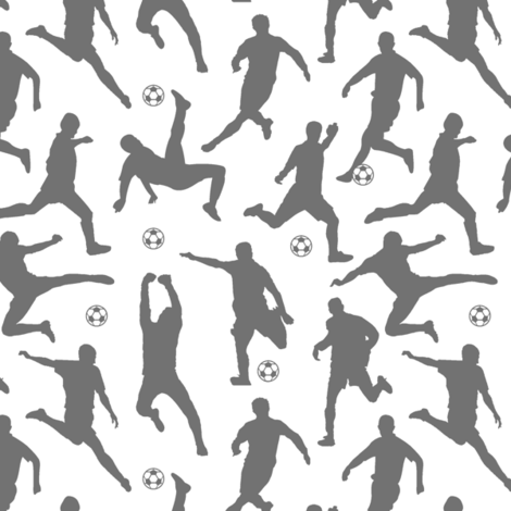 Grey Soccer Players // Small fabric by thinlinetextiles on Spoonflower - custom fabric