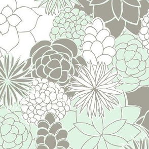 Desert Garden (Mint and Gray)