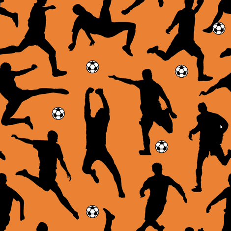 Soccer Players // Orange // Large fabric by thinlinetextiles on Spoonflower - custom fabric