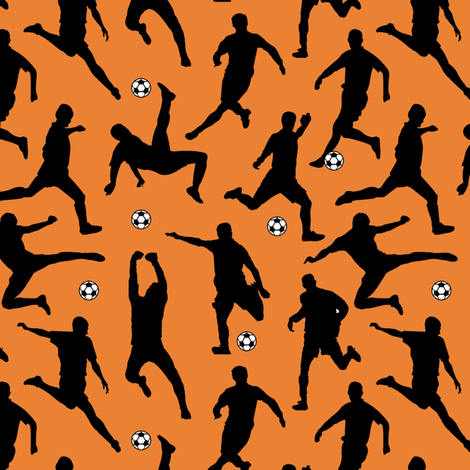 Soccer Players // Orange // Small fabric by thinlinetextiles on Spoonflower - custom fabric