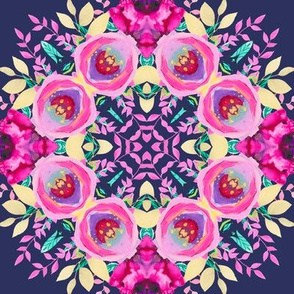 FLOWERS MANDALA 2 pink on navy coordinate to fiowery ice cream cones navy