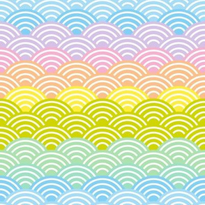 Seigaiha or seigainami rainbow abstract scales
