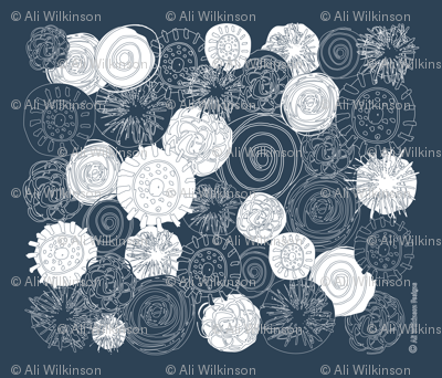 Abstract Flowers - Drk Blue Grey-01