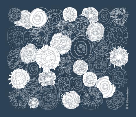 Abstract Flowers - Drk Blue Grey-01 fabric by aliwilkinsondesigns on Spoonflower - custom fabric