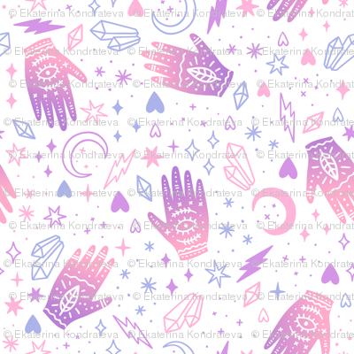 Ritual crystals and magic hands