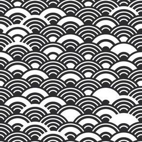 Seigaiha or seigainami  japanese circle white black