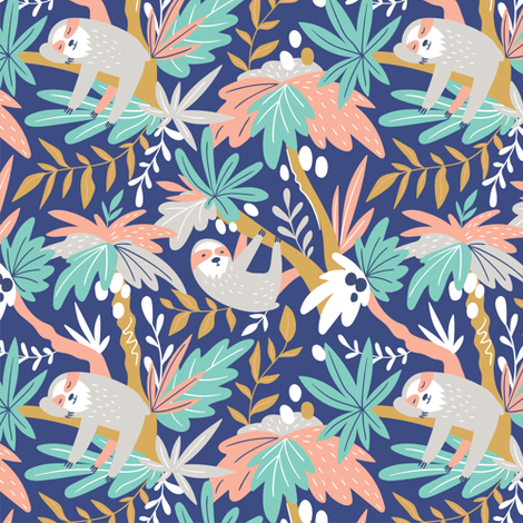 Sloths fabric by alenkakarabanova on Spoonflower - custom fabric