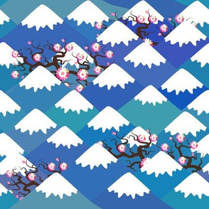sakura pink flowers landscape. blue mountain with snow-capped peaks