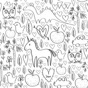pattern with animals and hearts black outline isolated on white background