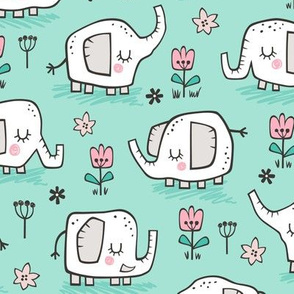 Elephants With Flowers on Mint Green