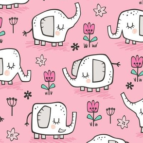 Elephants With Flowers on Pink