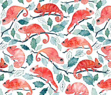 Chameleon garden fabric by adenaj on Spoonflower - custom fabric