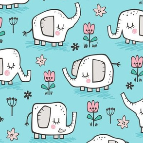 Elephants With Flowers on Blue