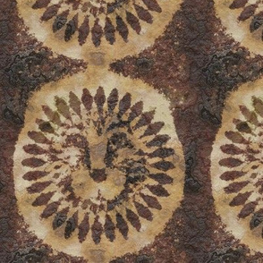 tribal lion medaillon africa symbol batik wax woodblock