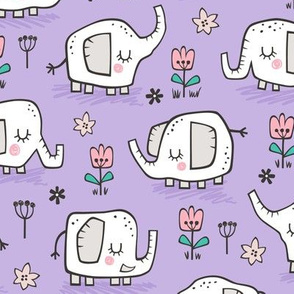 Elephants With Flowers on Purple Lilac