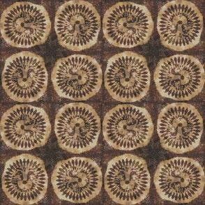 small upside down tribal lion medaillon checkerboard africa symbol batik wax woodprint