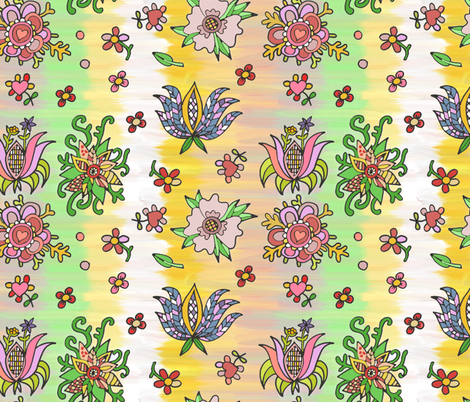 folk flowers springcolors  fabric by palusalu on Spoonflower - custom fabric