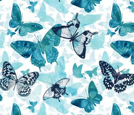 Butterfly glow in turquoise blue fabric by adenaj on Spoonflower - custom fabric