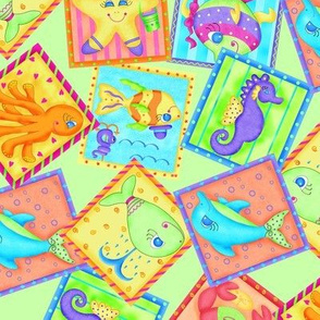 Kids Sea Animal Blocks Lime Green Medium