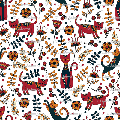 Cute cats. White pattern