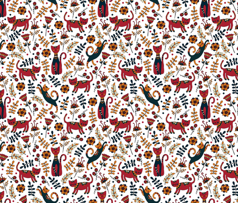 Cute cats. White pattern fabric by juliabadeeva on Spoonflower - custom fabric