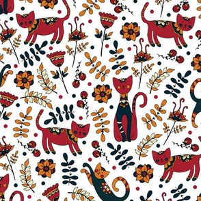 Cute cats. White pattern
