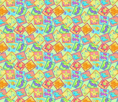 Kids Sea Animal Blocks Lime Green Small fabric by phyllisdobbs on Spoonflower - custom fabric