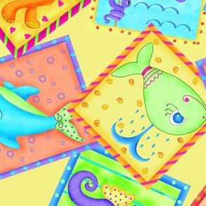 Kids Sea Animal Blocks Yellow Large