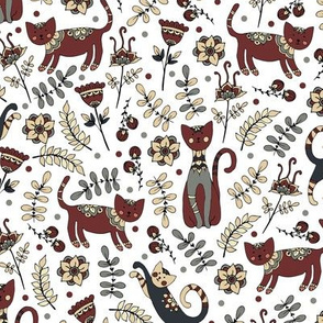 Cats. White pattern