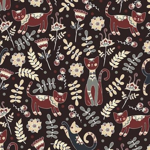 Cats. Brown pattern