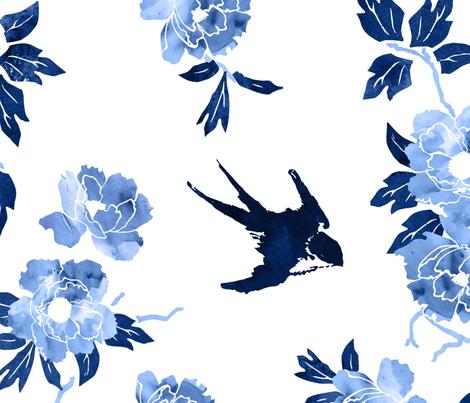 Oriental peonies in sapphire blue fabric by adenaj on Spoonflower - custom fabric