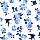 Oriental peonies in sapphire blue